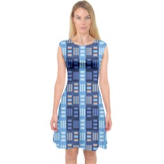 Textile Structure Texture Grid Capsleeve Midi Dress