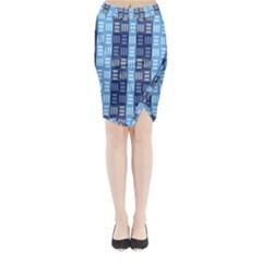 Textile Structure Texture Grid Midi Wrap Pencil Skirt