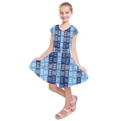 Textile Structure Texture Grid Kids  Short Sleeve Dress