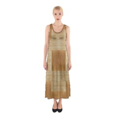 Texture Surface Beige Brown Tan Sleeveless Maxi Dress