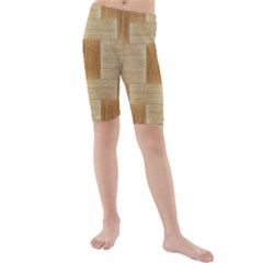Texture Surface Beige Brown Tan Kids  Mid Length Swim Shorts