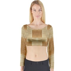 Texture Surface Beige Brown Tan Long Sleeve Crop Top