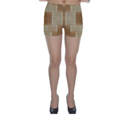 Texture Surface Beige Brown Tan Skinny Shorts