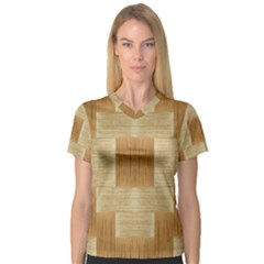 Texture Surface Beige Brown Tan Women s V Neck Sport Mesh Tee