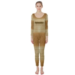 Texture Surface Beige Brown Tan Long Sleeve Catsuit