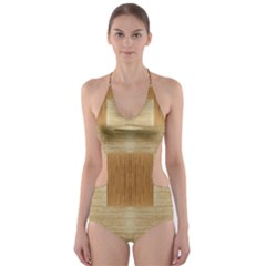 Texture Surface Beige Brown Tan Cut-Out One Piece Swimsuit