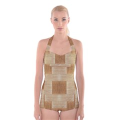 Texture Surface Beige Brown Tan Boyleg Halter Swimsuit