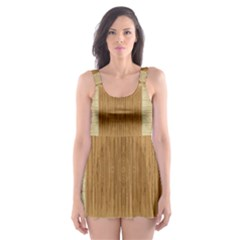 Texture Surface Beige Brown Tan Skater Dress Swimsuit