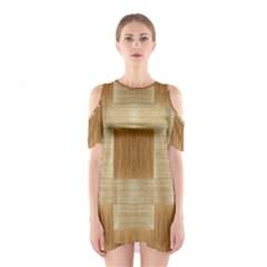 Texture Surface Beige Brown Tan Shoulder Cutout One Piece
