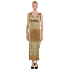 Texture Surface Beige Brown Tan Fitted Maxi Dress