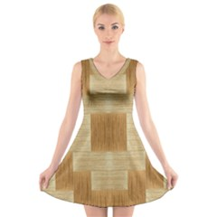 Texture Surface Beige Brown Tan V Neck Sleeveless Skater Dress