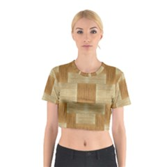 Texture Surface Beige Brown Tan Cotton Crop Top