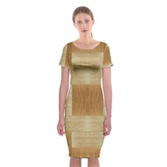 Texture Surface Beige Brown Tan Classic Short Sleeve Midi Dress