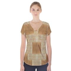 Texture Surface Beige Brown Tan Short Sleeve Front Detail Top