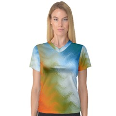 Texture Glass Colors Rainbow Women s V Neck Sport Mesh Tee