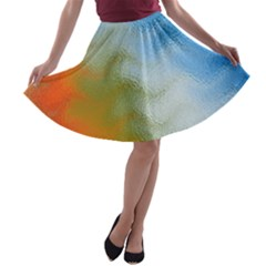Texture Glass Colors Rainbow A Line Skater Skirt