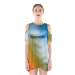 Texture Glass Colors Rainbow Shoulder Cutout One Piece