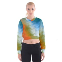 Texture Glass Colors Rainbow Women s Cropped Sweatshirt