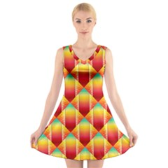 The Colors Of Summer V Neck Sleeveless Skater Dress