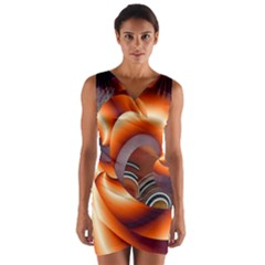 The Touch Digital Art Wrap Front Bodycon Dress