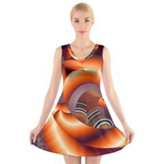 The Touch Digital Art V Neck Sleeveless Skater Dress