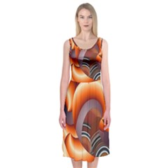 The Touch Digital Art Midi Sleeveless Dress