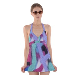 Texture Pattern Abstract Background Halter Swimsuit Dress