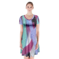 Texture Pattern Abstract Background Short Sleeve V-neck Flare Dress