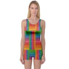 Texture Surface Rainbow Festive One Piece Boyleg Swimsuit