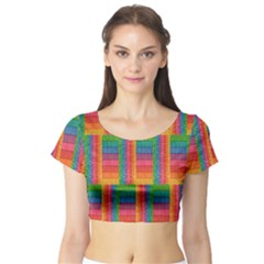 Texture Surface Rainbow Festive Short Sleeve Crop Top (tight Fit)