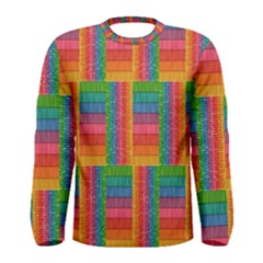 Texture Surface Rainbow Festive Men s Long Sleeve Tee