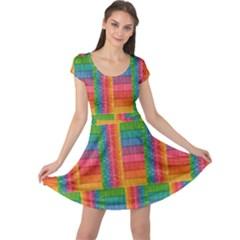 Texture Surface Rainbow Festive Cap Sleeve Dresses
