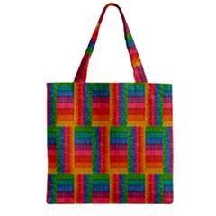Texture Surface Rainbow Festive Zipper Grocery Tote Bag