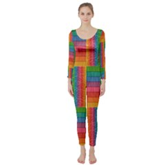 Texture Surface Rainbow Festive Long Sleeve Catsuit