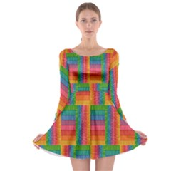 Texture Surface Rainbow Festive Long Sleeve Skater Dress