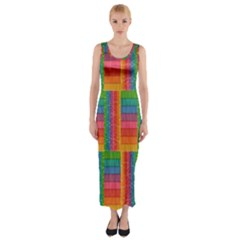 Texture Surface Rainbow Festive Fitted Maxi Dress