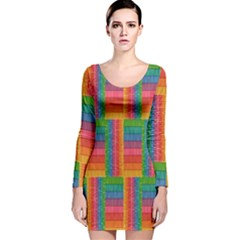 Texture Surface Rainbow Festive Long Sleeve Velvet Bodycon Dress