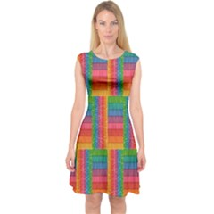 Texture Surface Rainbow Festive Capsleeve Midi Dress