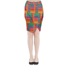 Texture Surface Rainbow Festive Midi Wrap Pencil Skirt