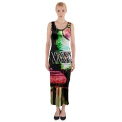 Three Earthen Vases Fitted Maxi Dress