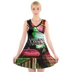 Three Earthen Vases V Neck Sleeveless Skater Dress