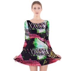 Three Earthen Vases Long Sleeve Velvet Skater Dress