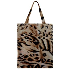 Tiger Animal Fabric Patterns Zipper Classic Tote Bag