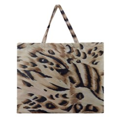 Tiger Animal Fabric Patterns Zipper Large Tote Bag