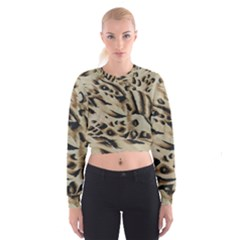 Tiger Animal Fabric Patterns Women s Cropped Sweatshirt