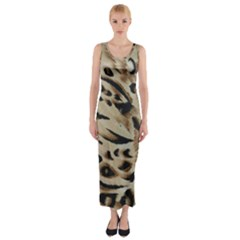 Tiger Animal Fabric Patterns Fitted Maxi Dress