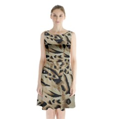 Tiger Animal Fabric Patterns Sleeveless Chiffon Waist Tie Dress