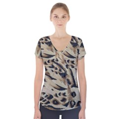 Tiger Animal Fabric Patterns Short Sleeve Front Detail Top