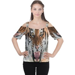 Tiger  Women s Cutout Shoulder Tee