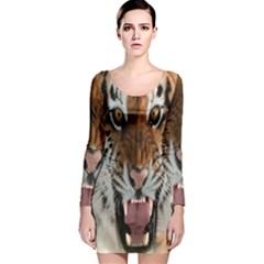 Tiger  Long Sleeve Velvet Bodycon Dress